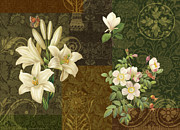 Carpet Painting Posters - Flower Patchwork 2 Poster by JQ Licensing