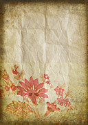 Manuscript Photo Prints - Flower Pattern On Old Paper Print by Setsiri Silapasuwanchai