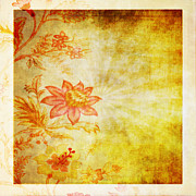 Manuscript Photo Prints - Flower Pattern Print by Setsiri Silapasuwanchai