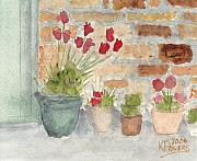 Brick Painting Originals - Flower Pots by Ken Powers