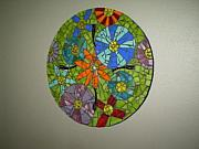 Blues Glass Art Originals - Flower Power Clock by Shelly Bird