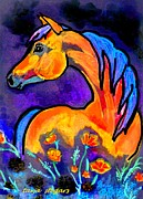 Horse Drawings Framed Prints - Flower Power II Framed Print by Tarja Stegars