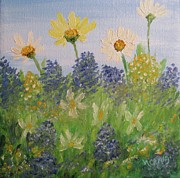 Miniatures Art - Flower Power by Nancy Craig