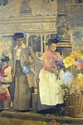 Blue Purple Paintings - Flower Seller - London by Peter Miller