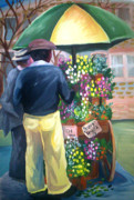 Slaves Painting Prints - Flower seller 1946 cart Print by Janie McGee