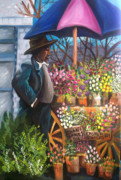 Black History Paintings - Flower Seller 1946 by Janie McGee