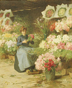 France La Madeleine Metal Prints - Flower Seller in front of the Madeleine Church Metal Print by Victor Gabriel Gilbert