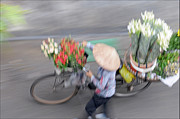 Far East Prints - Flower seller Print by Marion Galt
