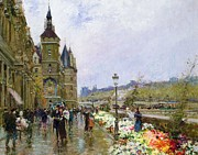 Buildings Framed Prints - Flower Sellers by the Seine Framed Print by Georges Stein