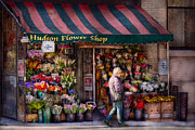 Chelsea Framed Prints - Flower Shop - NY - Chelsea - Hudson Flower Shop  Framed Print by Mike Savad