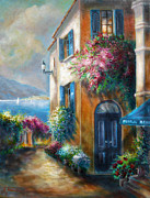 Contry Prints - Flower shop by the Sea Print by Gina Femrite