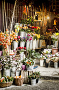 Baskets Posters - Flower Shop Poster by Heather Applegate