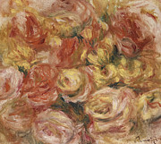 Pierre Renoir Framed Prints - Flower Sketch Framed Print by Pierre Auguste Renoir