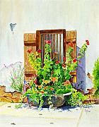 Building Painting Originals - Flower Tub by Karen Fleschler