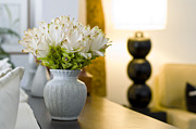 Cushion Metal Prints - Flower vase in beautiful interior design Metal Print by Ulrich Schade
