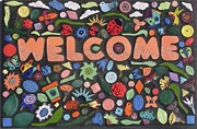 Plaque Mixed Media Prints - Flower Welcome Mosaic Handmade House Sign - WC203      Zoom     Enlarge    Flower Welcome Mosaic Han Print by Chrisse Hartley