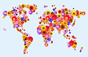 Planet Map Digital Art Posters - Flower World Map Poster by Michael Tompsett