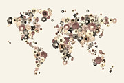 Planet Map Digital Art Prints - Flower World Map Sepia Print by Michael Tompsett