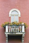 Italian Window Prints - Flowered Italian Balcony Print by Lynn Andrews