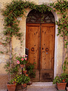 Donna Prints - Flowered Tuscan Door Print by Donna Corless