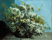 Flowering Bush Posters - Flowering Branches and Flowers Poster by Gustave Courbet