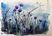 Stephanie Aarons Painting Metal Prints - Flowering Chives Metal Print by Stephanie Aarons