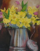 Still Life Paintings - Flowering delight by Kanchan Mehendale