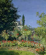 Beds Paintings - Flowering Garden at Sainte-Adresse by Claude Monet