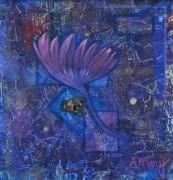 Fabric Mixed Media - Flowering Heart by Mary Gravelle