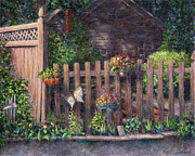 Suburban Prints - Flowerpots Hanging on a Fence Print by Susan Savad