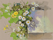Garden Scene Drawings - Flowers 1 by Milind Mulick