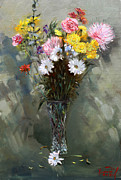 Still-life With Flowers Posters - Flowers 2010 Poster by Ylli Haruni