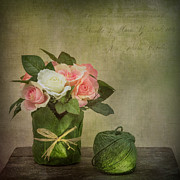 Bright Metal Prints - Flowers and A Ball of String Metal Print by Ian Barber