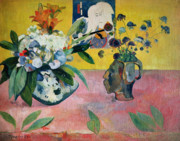 Print On Canvas Painting Prints - Flowers and a Japanese Print Print by Paul Gauguin