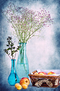 Vases Mixed Media Posters - Flowers and fruits Poster by Angela Doelling AD DESIGN Photo and PhotoArt