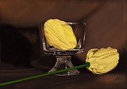 Flower Still Life Prints Digital Art Prints - Flowers and Glass Print by Tony Malone