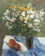 Still-life With Peaches Posters - Flowers and Peaches Poster by Juliya Zhukova