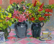 Pitchers Painting Metal Prints - Flowers and Pitchers Metal Print by David Lloyd Glover