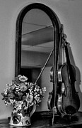 Pitcher Prints - Flowers and Violin in Black and White Print by Bill Cannon