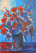Blue Vase Painting Posters - Flowers are always Welcome Poster by Patricia Awapara