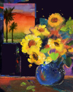 Sheila Golden - Flowers at Sunset