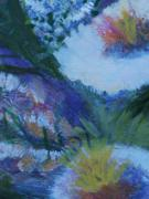 Yello Paintings - Flowers Bending with the Wind by Anne-Elizabeth Whiteway