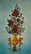 Red Glass Art Prints - Flowers Print by Betta Artusi