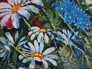 Impressionistic  On Canvas Paintings - Flowers Daisy   by Drinka Mercep