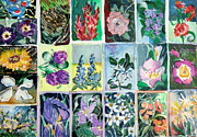Grid Drawings Posters - Flowers Flowers Flowers Poster by Mindy Newman