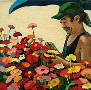 Asian Market Paintings - Flowers for Sale by Linda Apple