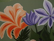 Painted Tapestries - Textiles Prints - Flowers from my mural Print by Denise D Cooper