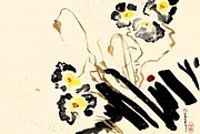 Sumi-e Prints - Flowers Grey Print by Casey Shannon