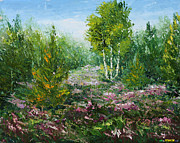 Clearing Mixed Media - Flowers in a clearing in the forest by Valery Rybakow