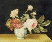 Table Paintings - Flowers in a Delft Jar  by Alexander Marshal